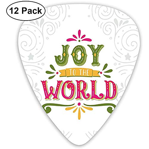 Guitar Picks 12er-Pack, Joy To World Schriftzug mit geometrischen Linien Strudel und Schnörkel Muster Weihnachten Thema