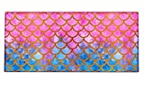 Extended Gaming Mouse Pad Mat Large Desk Mat Non Slip Rubber Base Computer Desktop Laptop Keyboard Mouse Mat Stitched Edges, 35.1x15.75 in Long XXL Waterproof Mousepad for Work Game, Mermaid Scales