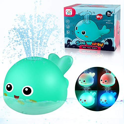 Yojoloin Badewannenspielzeug für Kinder Baby Badespielzeug,Wasserspielzeug für Badewanne Schwimmbad,Wal Baden Baby Spielzeug für Kleinkind Mädchen Junge ab 1 2 3 Jahre(Grün)