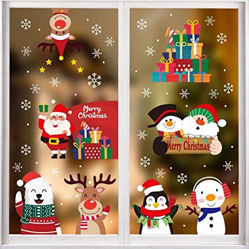 DERAYEE Weihnachten 8stk Fensterdeko statische Weihnachtsaufkleber Weihnachtenssticker