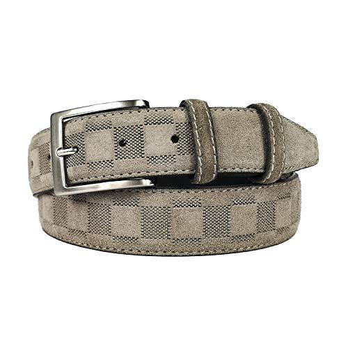 MYB Cintura per uomo in camoscio lavorato 35 mm - Vera Pelle - Made In Italy - diversi colori e taglie disponibili (Taupe, 115-130 cm)