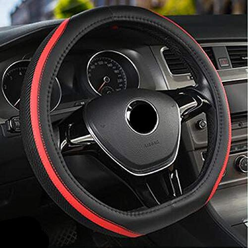 WAXCC D-Serie Mikrofaser LederEisseide Auto Lenkräder Abdeckungen 38 cm Lenkradnaben für Golf 7 2015 Polo Jatta, Schwarz Rot