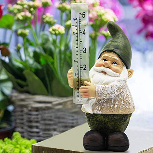 Rain Gauges Outdoor Gnome Figurine Bits and Pieces Hand Painted Water Gauge for Rain in Patio Lawn Yard Garden Decor Rain Resistant Polyresin Statue Little Gnome