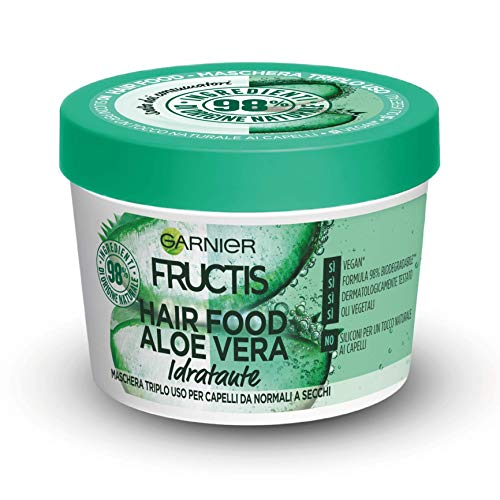 Garnier Fructis Hair Food Aloe Vera Maschera Riparatrice 3 in 1 con Formula Vegana per Capelli Danneggiati, 390 ml