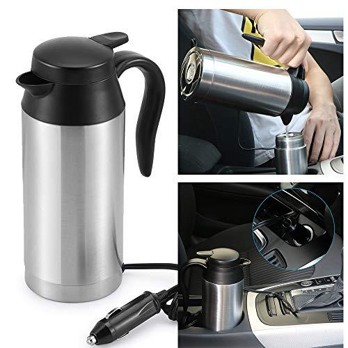 OurLeeme 750 ml Reisewasserkocher, Edelstahl Wasserkocher mit Sealed Auto Elastisch Heizung Cup für 12 V Auto