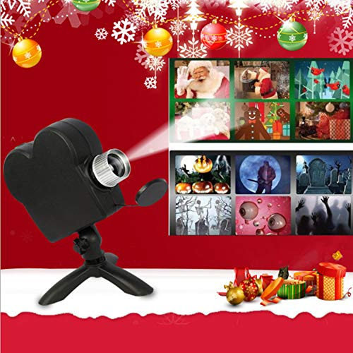 JJIIEE Christmas Window Projector,12 Movies Festival LED Projection Lamp with Projection Screen,Enhance The Festive Atmosphere Best Props for Home Halloween Party