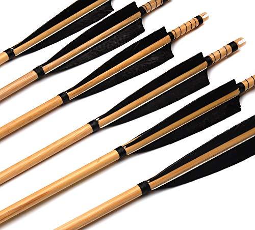 XFC-Arrow, 6 Piume PC Tradizionali frecce in Legno Lunghezza 85 Centimetri in Turchia for 20~60kg Longbow Arco Compound Tiro con L Arco Caccia (Colore : 6 PCS)