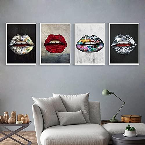Color Creativo Personalidad Flor Diamante Labios Pintura al óleo Arte Cartel Cuadro de Pared decoración de la Sala de Estar