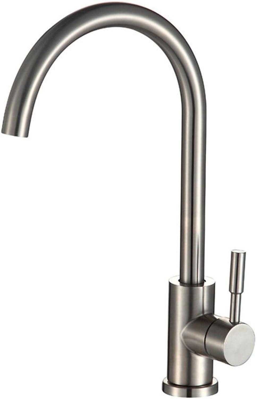 Küchenarmatur Waschtischarmatur Wasserfall Wasserhahn Bad Mischbatterie Badarmatur Waschbecken Badezimmer Küchenarmatur aus gebürstetem Edelstahl mit heiem und kaltem Wasser