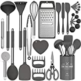 Silicone Kitchen Cooking Utensils Set, Fungun 27 Pcs Kitchen Utensil Set with Stainless Steel Handle - Kitchen Gadgets Cookware Set, Non-stick Heat Resistant Kitchen Tool Set - Grey
