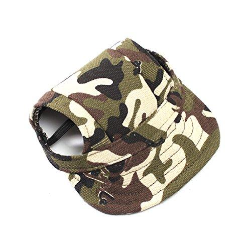 UEETEK Perro de animal doméstico lona sombrero deportes gorra de béisbol con agujeros de oreja para perros pequeños - tamaño M (Color del camuflaje)