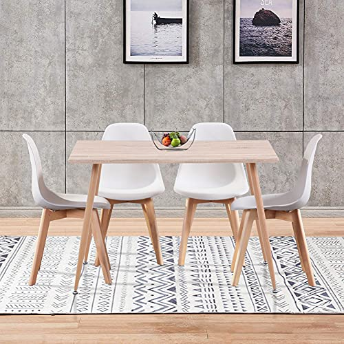 GOLDFAN Dining Table 4 PP Dining Chairs Wooden Rectangular Kitchen Dining Table and Chair Dining Set, 120CM (Brown and White)