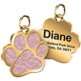 Personalized Engrave Pet ID Tags Paw Shape Custom Glitter Pet Supplies Engrave Name Number Elegant Plated Unique Gift for Cats Little Dogs (Pink)