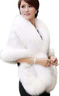 Women's Faux Fur Coat Wedding Bridal Cloak Cape Shawl for Evening Party