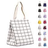Insulated Lunch Bag for Women, Durable Wide-Open Foldable & Portable Lunch Tote with Interior Pockets, Water-resistant Thermal Lunch Cooler for Adults & Kids Picnic Office Beach School-IKNOE White1