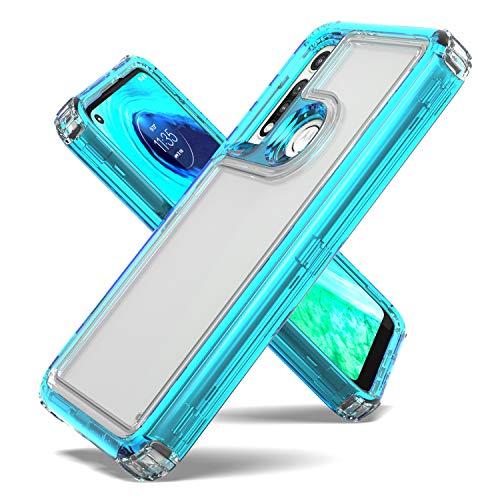 Fcclss Cell Phone Case for Motorola Moto G Fast, Motorola G Fast Case Dual Layer Heavy Duty Hybrid Crystal Clear Case, Motorola G Fast Case Shockproof Protective Case for Women Men Girls, Blue