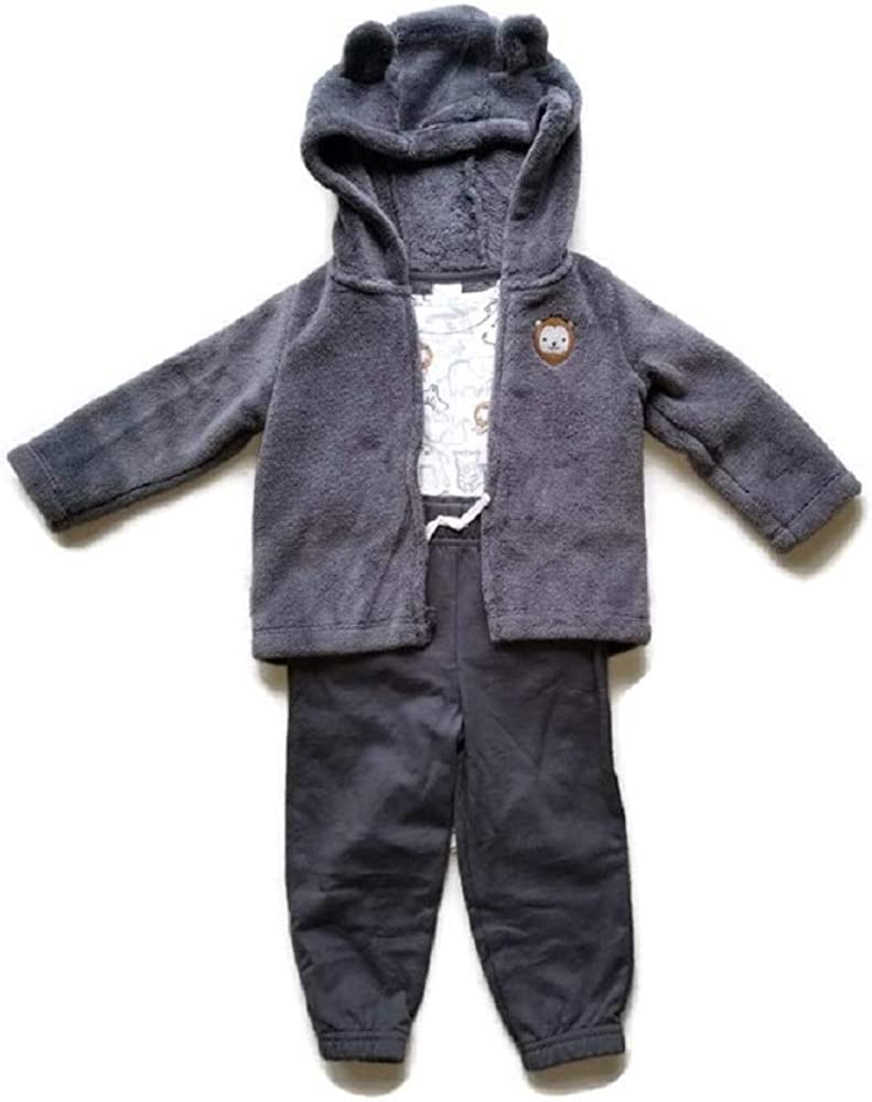 Child of Mine Baby Boy Hooded Fleece Cardigan and Fleece Pant 3pc Outfit Set - Lion (0-3 Month)