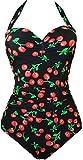 EUDOLAH Damen Badeanzug Figurformende Bademode Neckholder Retro Vintage Push Up Kirschen Cherry (L, A-Berry)