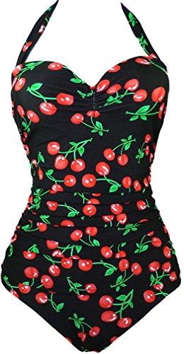 EUDOLAH Damen Badeanzug Figurformende Bademode Neckholder Retro Vintage Push Up Kirschen Cherry (3XL, A-Berry)