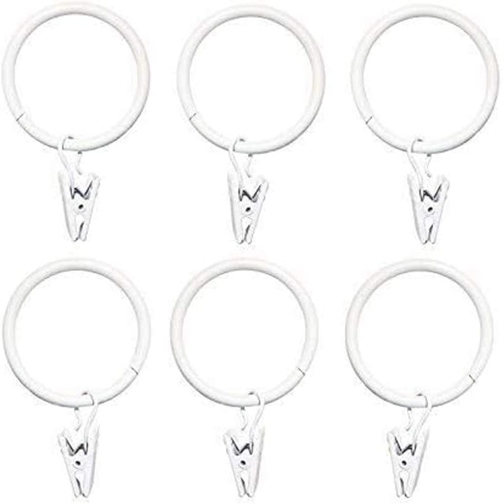 esowemsn 20pcs 32mm Brand new Classic 1.26inch White Metal Rings with Curtain Clip