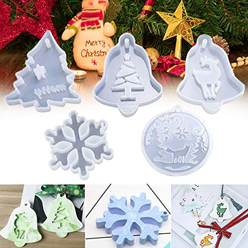Christmas Resin Moulds Pendant Jewelry Making Silicone Mould Crystal Epoxy Casting Mold Xmas Tree Snowflake Elk Wolf Molds for Xmas Tree Ornament Decoration Gift DIY Gift (5Pcs)