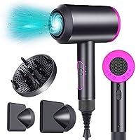 asciugacapelli con diffusore e generatore di ioni, 2000w circolazione d'aria calda e fredd, asciugacapelli professionale con 2 ugelli e 1 diffusore