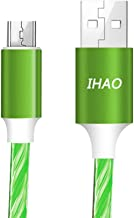 IHAO Micro USB Android Cell Phone Charger Cable Fast Charging and High Sync Speed Visible Shining LED Current Flowing for Samsung HTC Xbox PS4 Kindle and Other Device-Green/39 Inches