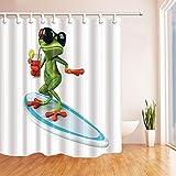 cdhbh Wild Animal Dusche Gardinen für Badezimmer Funny rote Augen Frösche Brille tragen & Trinken Saft stehend auf Polyester-Surfbrett-Bad Vorhang Vorhang für die Dusche Haken im