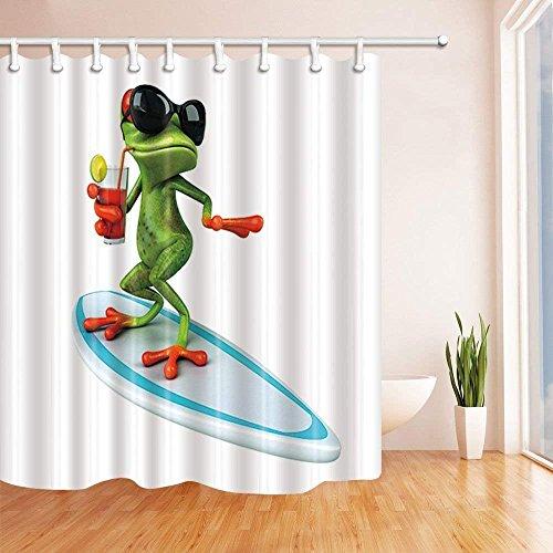 CDHBH Cortinas de ducha de animales salvajes para baño divertidas ranas rojas con gafas y zumo para beber de pie en tabla de surf tela de poliéster impermeable cortina de baño cortina de ducha ganchos incluidos