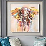 ganlanshu Pintura al óleo Abstracta Moderna en el Lienzo Mural Art Deco póster Acuarela Elefante,Pintura sin Marco,50X50cm