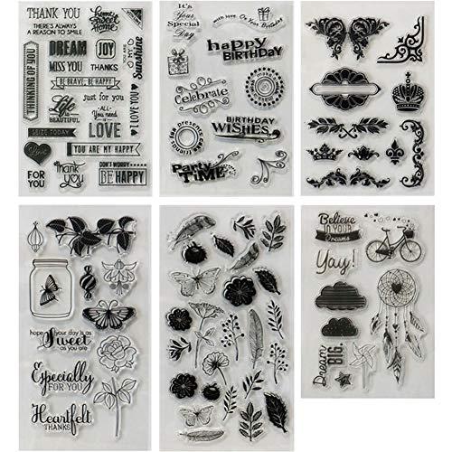MAMUNU Transparente Silikon-Stempel für Grußkarten, Dekoration und Scrapbooking, verschiedene Motive, 6 Blatt