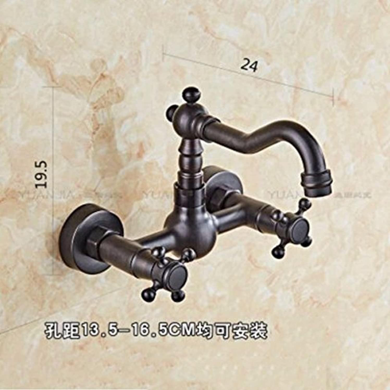 Gyps Faucet Waschtisch-Einhebelmischer Waschtischarmatur BadarmaturDie Kupfer Schwarz in die Wand Armatur Waschbecken Zwei Bohrungen der Teller Fach Waschbecken Wscheservice Pool Kalt Wasserhahn C