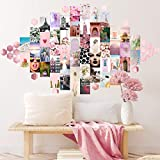 AZRAS VOYAGE Wall Collage Kit & Hexagon Mirror Tiles - Pink Room Decor Set of 50 4x6 Aesthetic Art Prints & 20 Rose Gold Mirrors - Picture & Decorations for Teen Bedroom Pictures & Poster for Teengirl