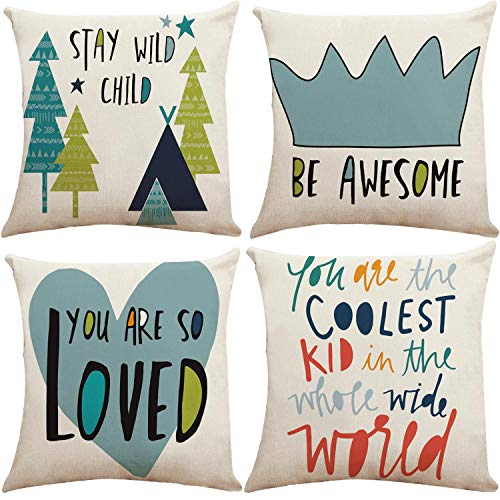 Munzong You are So Loved Throw Pillow Covers 18 x 18 Inch, Set of 4 Cotton Linen Hill Woodland Cushion Covers for Kids Baby Shower Birthday Gift, Square Pillowcases for Toy Room Baby Nursery Decor