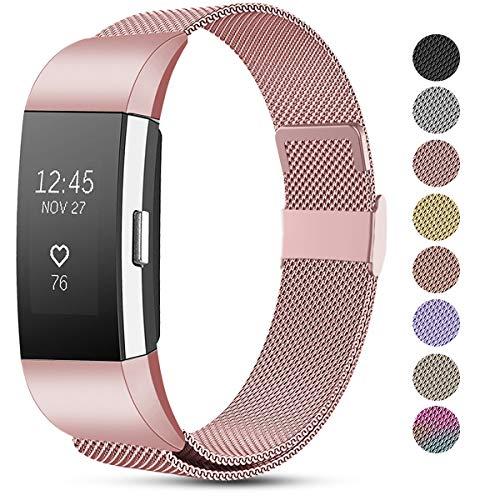 Funbiz Correas Compatible con Fitbit Charge 2 Correa, Pulsera de Repuesto de Acero Inoxidable de Malla Metálica Ajustable para Fitbit Charge 2, Pequeña Grande