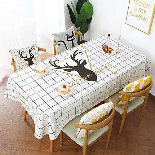 Tafelkleed van linnen katoen, waterbestendig, oliebestendig, warm, restaurant, tafel, rond, 140 x 200 cm, Cebu Hert
