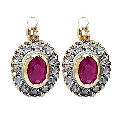 YUECI 1 par de pendientes de clip para mujer, de acero inoxidable, con cristales rojos y diamantes de imitación, hipoalergénicos, no perforados
