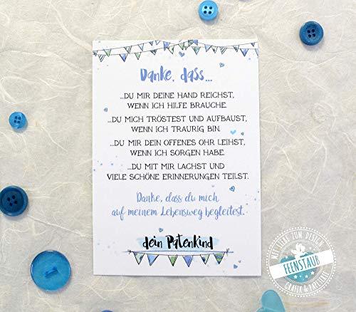 Taufpate Dankeschön Karte als Geschenk, neutral, für Patenonkel, Dankeschön zur Taufe Pate sein