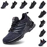 Zapatos De Seguridad Hombre Mujer Ligeros Transpirables Trabajo Punta De Acero Antideslizantes Reflexivo Zapatillas Negro 45 EU