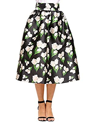 Chigant Women's High Waisted A-Line Street Skirt Floral Print Midi Skirt