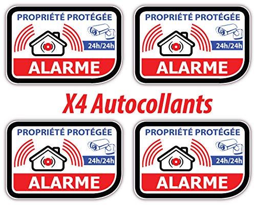 Sticker Alarme Vidéo-Surveillance Autocollant (Lot de 4 Stickers) Modèle 326 adhesif