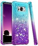 wlooo Funda para Samsung Galaxy S8, Fundas Samsung S8, Glitter liquida Gradiente Cristal Silicona Bling Protector TPU Bumper Case Brillante Arena movediza Carcasa (Teal Violet)