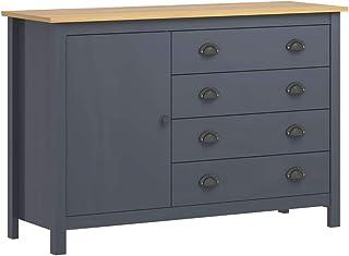 Lechnical Buffet Hill Range Garde-Robe Meubles Armoire Polyvalente Cabinet Bois de pin Massif 120x40x80 cm Gris