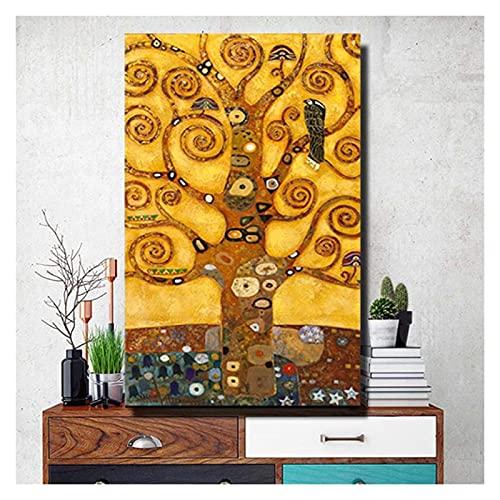 ZHANGKAIXUAN Gustav Klimt Tree of Life Wall Art Canvas Prints Life Tree Pintura Famosa Replica Gustav Klimt Lienzo Pintura for Sala de Estar 65x95cm Sin Marco (Color : No Frame, Size : 30x45cm)