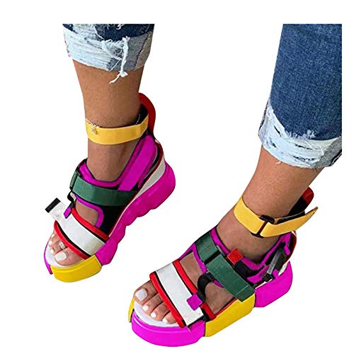 Aniywn Platform Sandals for Women Rainbow Sandals Open Toe Ankle Strap Flat Sandals Wedge Heel Colorblock Sandals Hot Pink