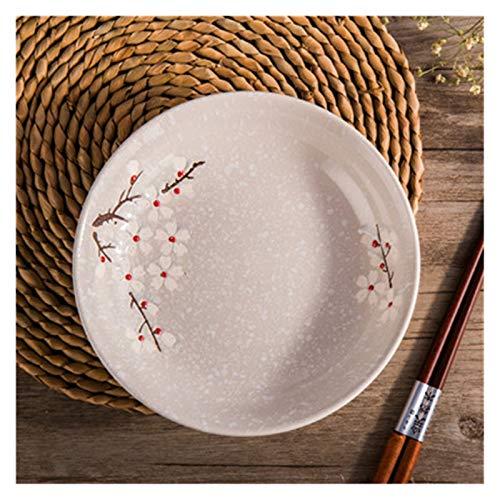 LIUBINGTB Plato de cena de cerámica redondo japonés con diseño floral y flor de cerezo, plato de porcelana para carne, frutas, postre, platos (color: beige, tamaño de la placa: 18 x 3,5 cm)