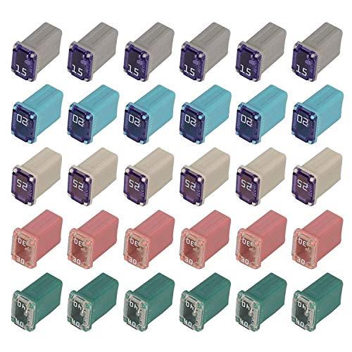 30 pcs Automotive MCASE Mini Box Shaped Cartridge Fuse Kit for Cars, Trucks, and SUVs