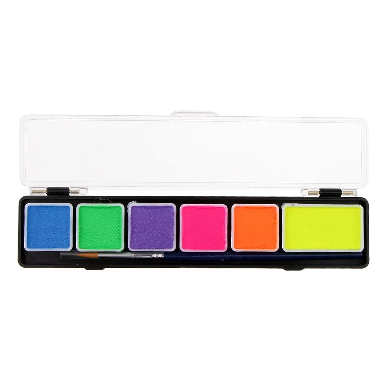 安息ビット警察Perfk フェイスペイントパレット ボディーペイント カラーメイク 化粧ブラシ メイクアップブラシ パーティー 6スタイル選べ - RT005D