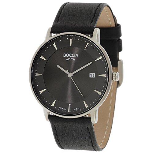 Boccia Men's Digital Quartz Watch with Leather Strap 3607-01
