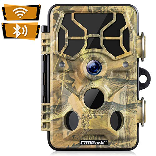 Campark WLAN Wildkamera 20MP 1296P Upgrade Bluetooth, WiFi mit Bewegungsmelder Nachtsicht Wildlife Jagdkamera, Wildtierkamera mit Nachtsichtbewegung Wasserdicht IP66